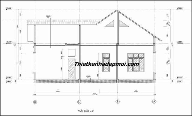Bản vẽ chi tiết nhà một tầng mái thái 140m2