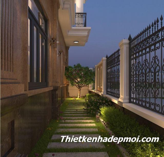 Thiết kế biệt thự phố 4 tầng 2 mặt tiền có sân vườn