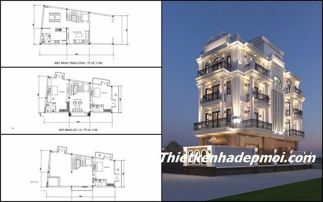 Bản vẽ thiết kế biệt thự phố 2 mặt tiền 4 tầng