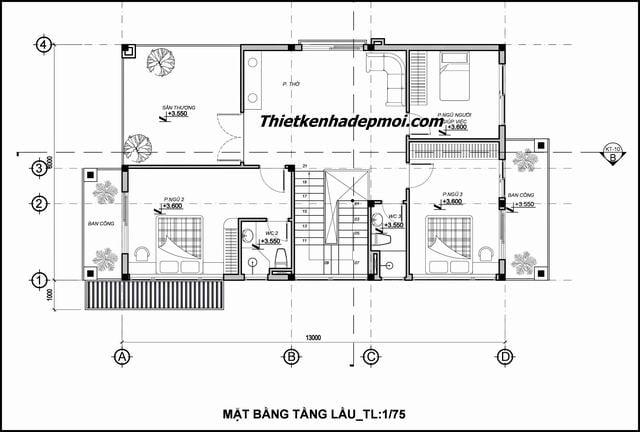 Mặt bằng nhà biệt thự mini 1 trệt 1 lầu 4 phòng ngủ