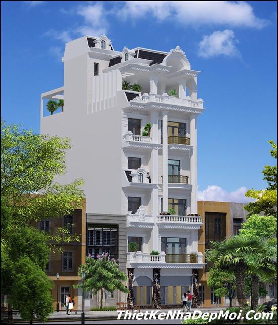 Kiến trúc biệt thự phố 5 tầng kiểu pháp mặt tiền 8.5m