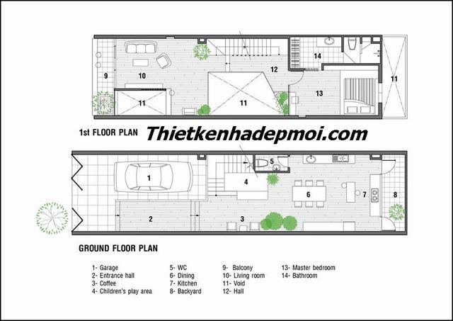 Thiết kế nhà 3 tầng 80m2 lệch tầng đơn giản 5m