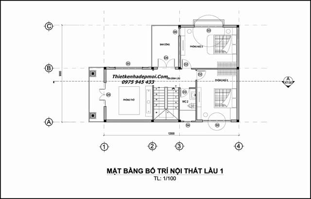 Mặt bằng nhà 2 tầng chữ L đơn giản 9x14m