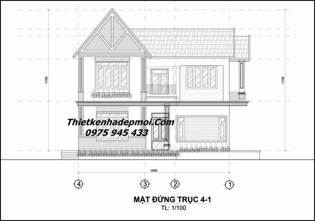 Bản vẽ nhà 2 tầng đơn giản 3 phòng ngủ 9x14m