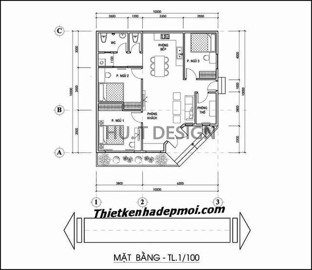 Thiết kế nhà vuông 10x10 1 tầng