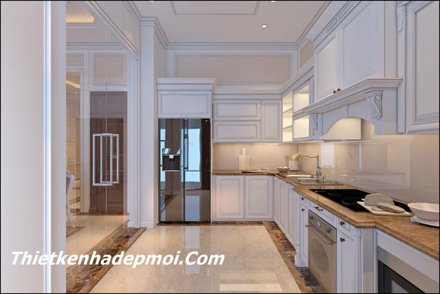Mẫu phòng bếp tân cổ điển đẹp 14m2