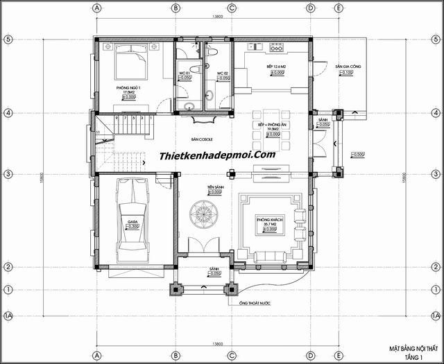 Bản vẽ thiết kế nội thất nhà đẹp 170m2 năm 2020 chị Hà