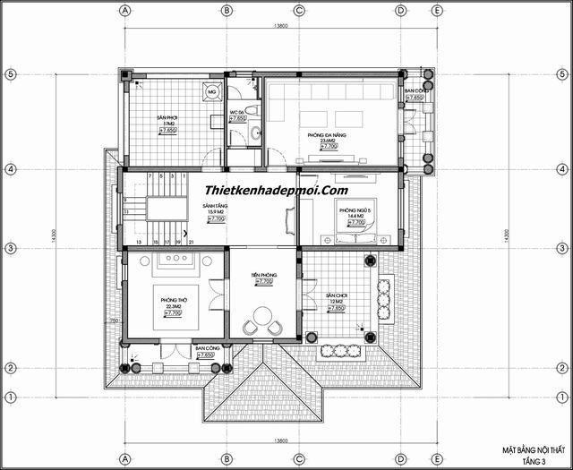 Biệt thự tân cổ điển 3 tầng 5 phòng ngủ