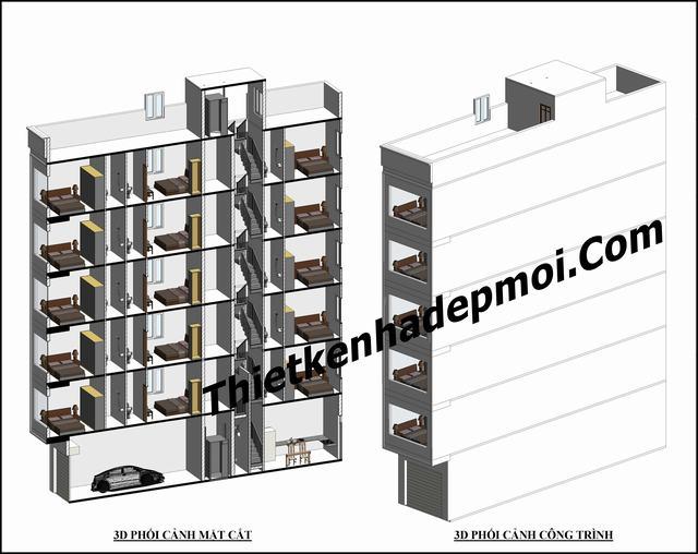 Bản vẽ thiết kế khách bình dân 6 tầng 5x20m
