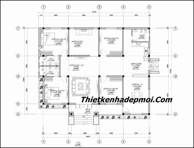 Bản vẽ xây nhà cấp 4 nông thôn