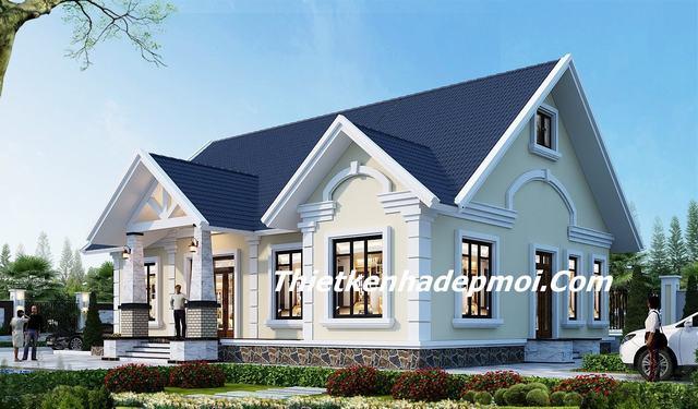 bản vẽ xây nhà cấp 4 mái thái đẹp nông thôn