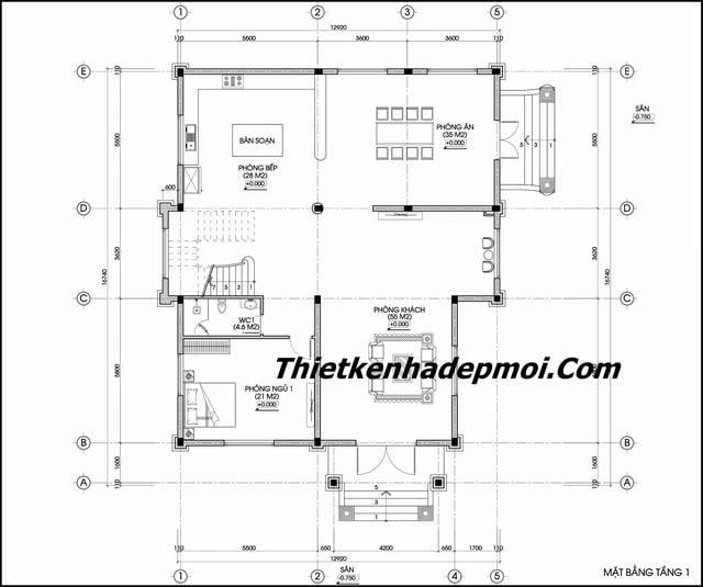 File cad biệt thự cổ điển 2.5 tầng