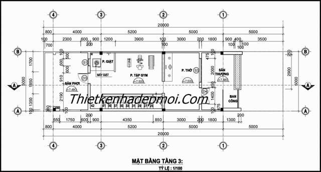 Bản vẽ xây nhà 2 tầng 5x15m đơn giản