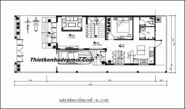 Tư vấn thiết kế nhà 2 tầng 7x15m chữ l 90m2