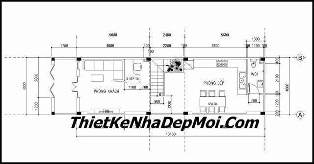 Bản vẽ nhà ống 2 tầng 4x13