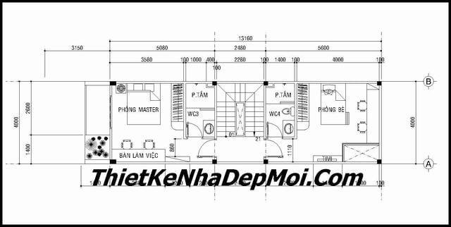 Thiết kế nhà ống 2.5 tầng 4x13Mặt