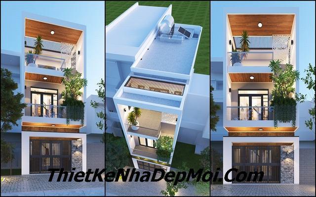 Mẫu thiết kế nhà 1 trệt 1 lầu 1 sân thượng 4x13