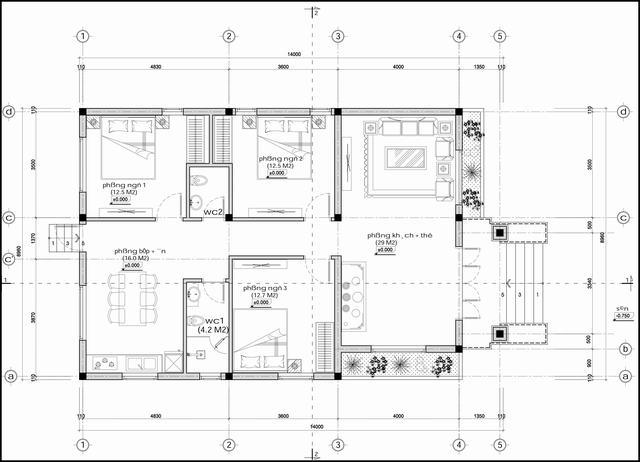 Thiết kế nhà cấp 4 mái thái hiện đại 3 phòng ngủ 9x14m
