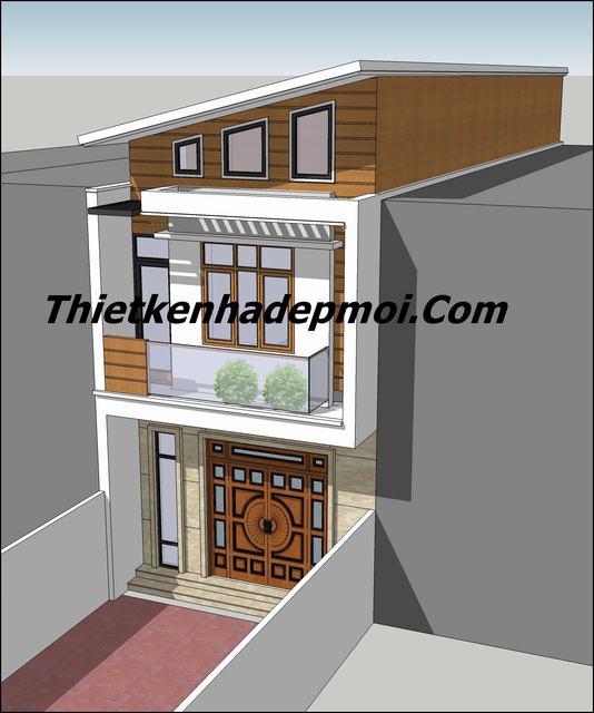 Nhà 2 tầng mái lệch hiện đại 5x16m