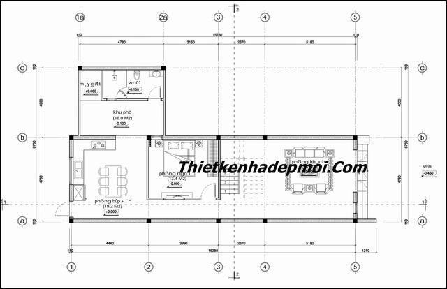 Tư vấn xây nhà ống mái lệch 2 tầng nở hậu