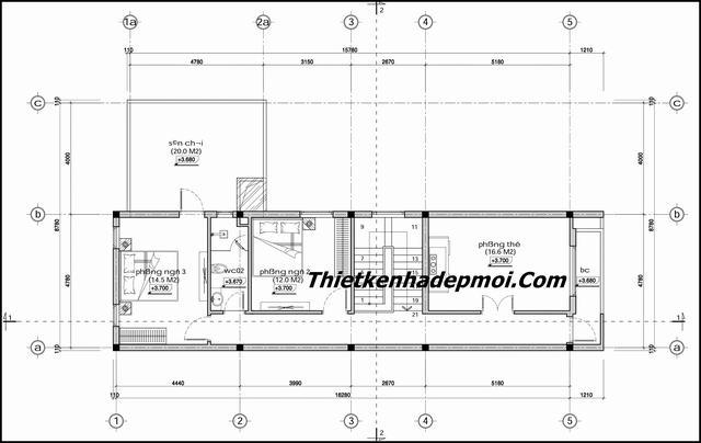 Mặt bằng nhà 2 tầng mái lệch đơn giản
