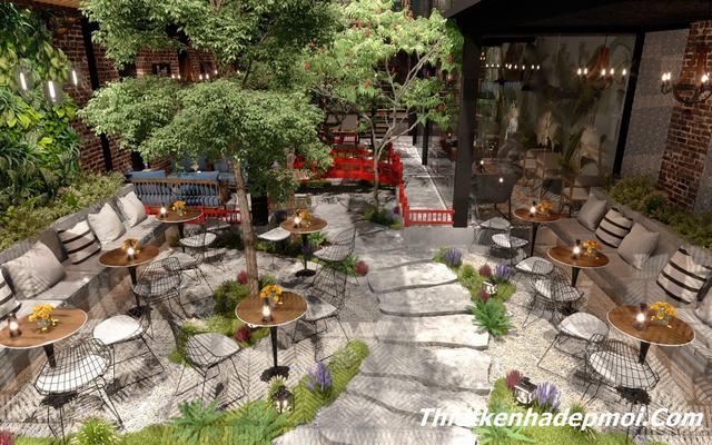 Thiết kế quán cafe mặt tiền 15m