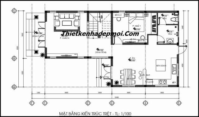 Thiết kế biệt thự mini 1 trệt 1 lầu hiện đại 8x15m