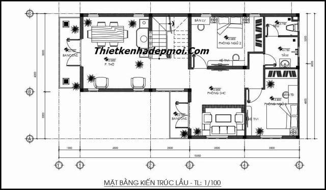 Bản vẽ nhà 2 tầng hiện đại 100m2