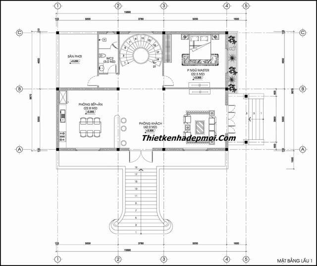 Bản vẽ nhà biệt thự có tầng hầm đẹp 2020