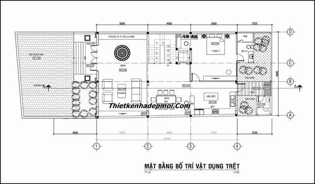 mặt bằng thiết kế nhà 9x15m 3 tầng 4 phòng ngủ