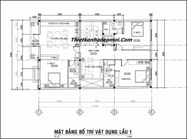 Bản vẽ biệt thự 3 tầng 9x15m cổ điển
