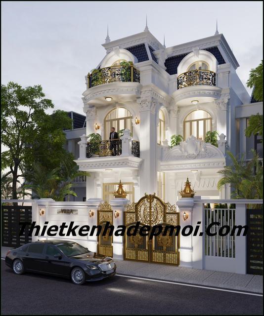mẫu nhà đẹp 3 tầng rộng 8.5m kiểu pháp