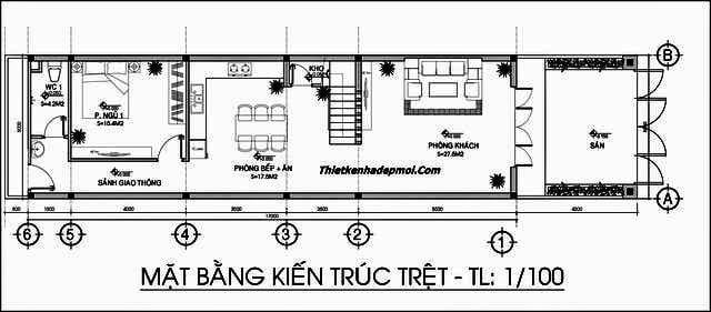 mẫu nhà phố 2 tầng 4 phòng ngủ 5x20