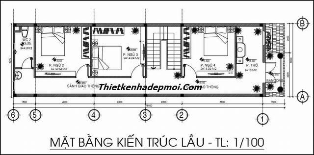 Bản vẽ nhà 2 tầng 5x20 4 phòng ngủ