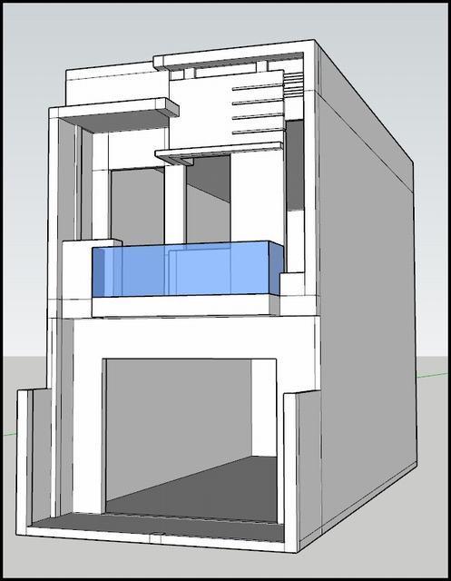 Kiến trúc nhà phố 2 tầng 5x20 file cad