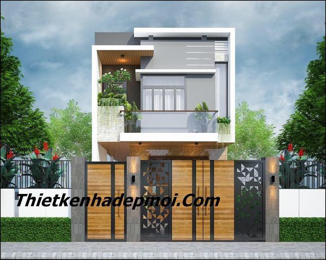 Nhà 1 trệt 1 lầu mái bằng 4 phòng ngủ