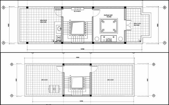 Bản vẽ nhà ống 6 tầng hiện đại 4.5m