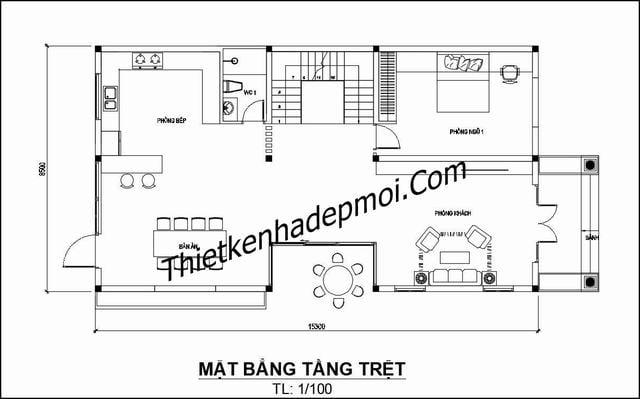 Bản vẽ biệt thự 2 tầng mái thái 4 phòng ngủ 130m2