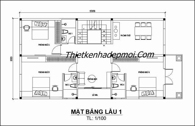 kết cấu biệt thự 2 tầng mái thái 140m2