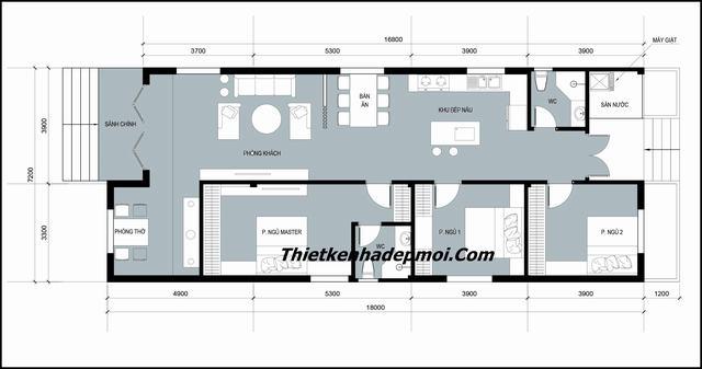 Bản vẽ nhà đẹp 1 tầng 3 phòng ngủ ngang 7m