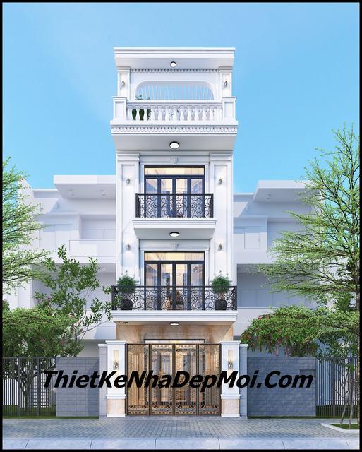 Mẫu nhà phố 1 trệt 2 lầu 1 sân thượng 4.5m
