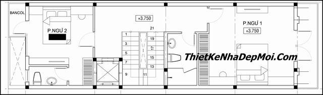 Thiết kế nhà ống tân cổ điển 3 tầng 1 tum