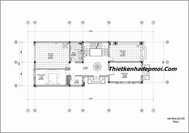 Bản vẽ biệt thự phố 3 tầng 5 phòng ngủ có gara 8m