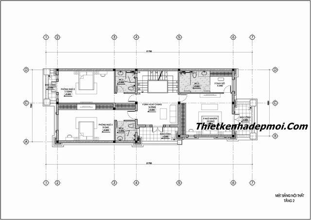 Bản vẽ thiết kế nhà biệt thự 3 tầng 7.5x22