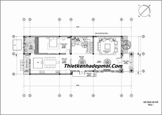 Bản vẽ thiết kế nhà biệt thự 3 tầng 8m x 22m