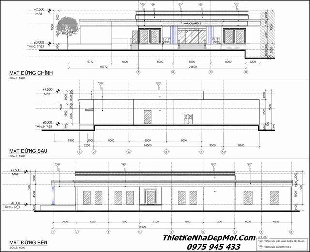 Bản vẽ thiết kế nhà hàng tiệc cưới 120m2 bàn