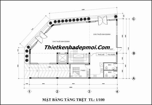 Bản vẽ thiết kế căn hộ dịch vụ cho thuê