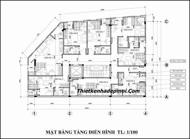 mặt bằng thiết kế căn hộ 10 tầng 175m2