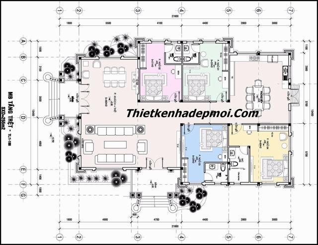Bản vẽ thiết kế biệt thự 4 phòng ngủ trệt ở nông thôn