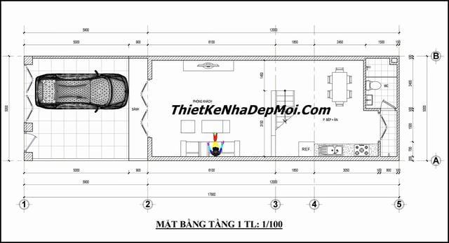 Bản vẽ mẫu nhà ống 2 tầng đơn giản có gara